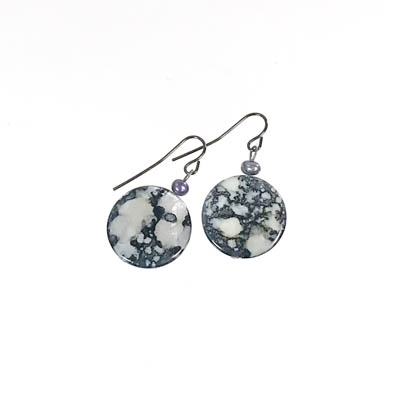 Grey Mother of Pearl Disc Earrings