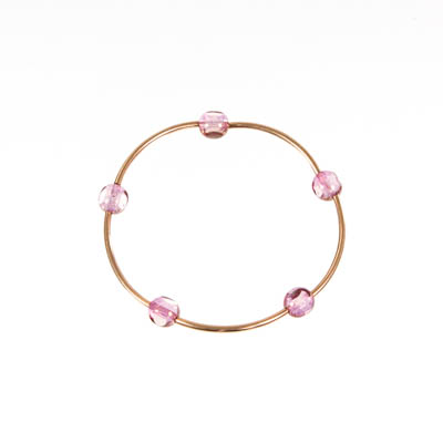 Clear Pink Czech Glass Bracelet